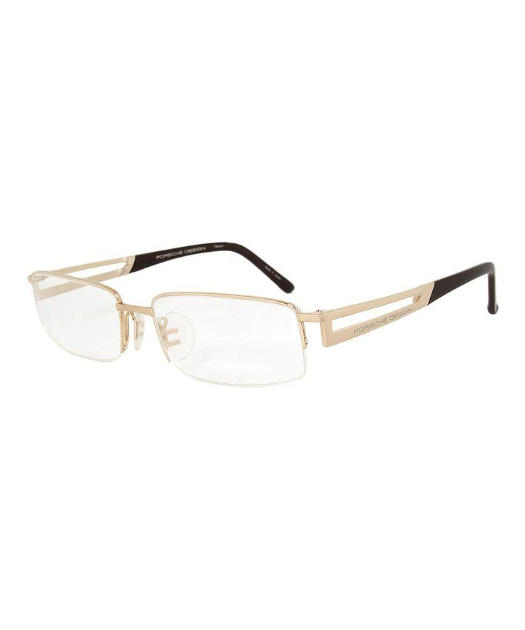 Matte Gold Cutout Half-Rim Rectangle Eyeglasses