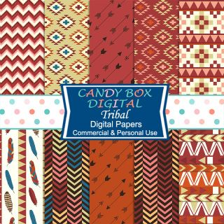 These wonderful tribal digital papers are so trendy! Great for scrapbook and…