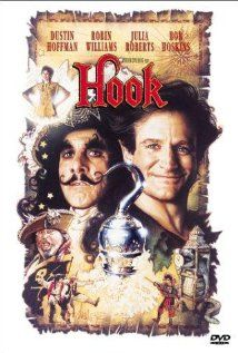 *HOOK, Poster, 1991:  When Captain Hook kidnaps his children, an adult Peter Pan must return to Neverland and reclaim his youthful spirit in order to challenge his old enemy.  Starring: Dustin Hoffman, Robin Williams & Julia Roberts...