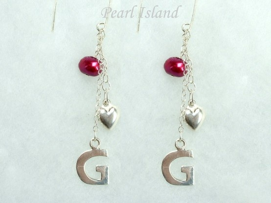 Personalised Red Baroque Pearl Earrings with Angle Earwire: www.pearlisland.co.uk