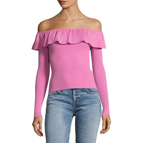 Miss Selfridge Women's Frill Bardot Top ($49) ❤ liked on Polyvore featuring tops, pink, flounce tops, long sleeve tops, pink ruffle top, frill off the shoulder top and off the shoulder flounce top
