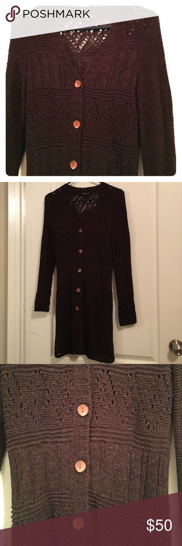 BCBG sweater Long cozy sweater for those cold evenings, curled up with a cup of hot cocoa.  Cute wooden buttons. Beautiful!! BCBGMaxAzria Sweaters