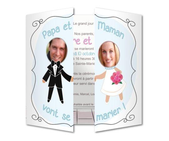 faire part mariage cadres photos papa et maman