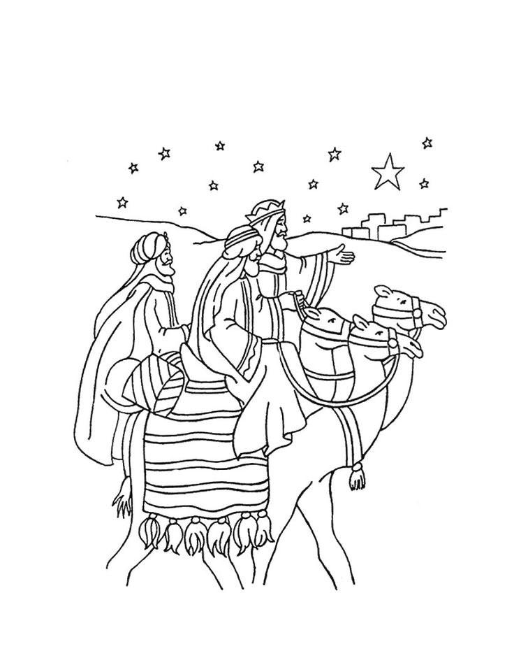 The Journey of the Three Wise Men coloring page