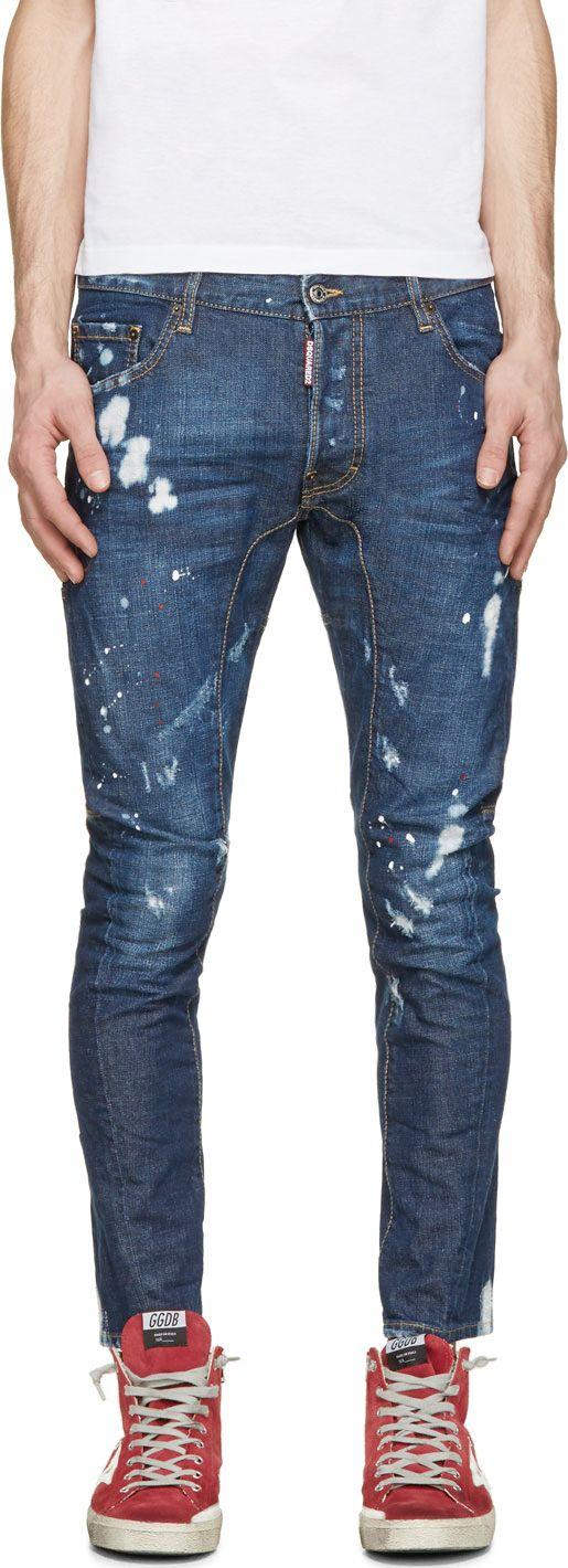 Dsquared2 - Blue Distressed Tidy Biker Jeans