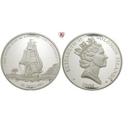 Salomonen, 25 Dollars 2000, 499,5 g fein, PP: 25 Dollars 2000. Huon de Kermadec - Segelschiff Esperance. Polierte Platte 500,00€ #coins