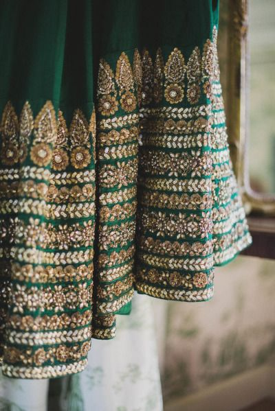 Sabyasachi bridal lehenga. Green wedding outfit