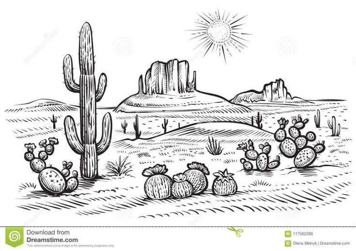 10+ Desert Landscape Line Drawing - Scenery Drawing in ...