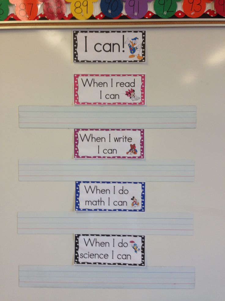I can statements, I write the skill for the day or week on the sentence strip.