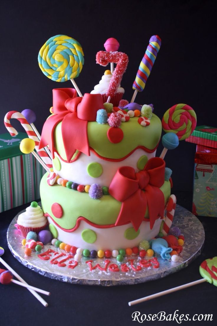 Holly Jolly Christmas Candy Cake Front with Gifts...also great for a Willie Wonka Party too.