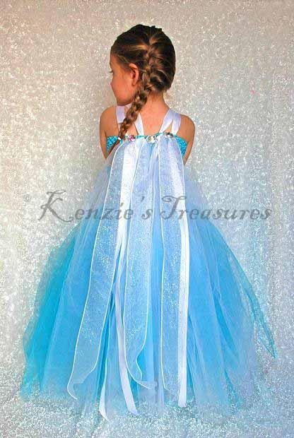 Elsa From Frozen Tutu Dress With Flowing Sparkly Ribbons by Kenzie's Treasures
