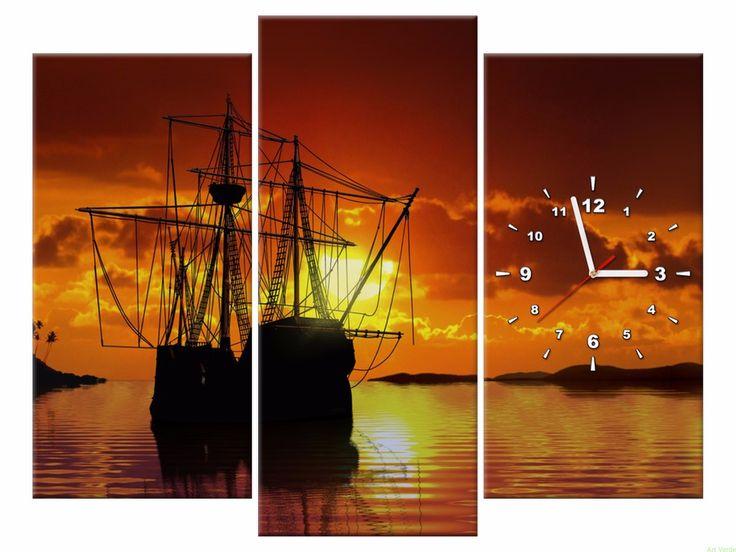 Zegar na płótnie 90x70 Statek OBRAZY Z ZEGAREM Galeria obrazów Art Verde