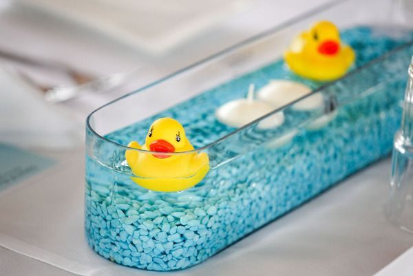 Easy-to-Make Baby Shower Centerpiece: Duckies and Water