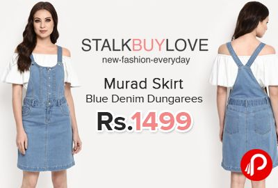 StalkBuyLove is offering Murad Skirt Blue Denim Dungarees Just at Rs.1499. Skirt Dungarees made with cotton spandex denim and woven cotton, Lined, Buttons at front, Pockets at dies and back, Length: 29.1″, 74 cm (Size S).  http://www.paisebachaoindia.com/murad-skirt-blue-denim-dungarees/