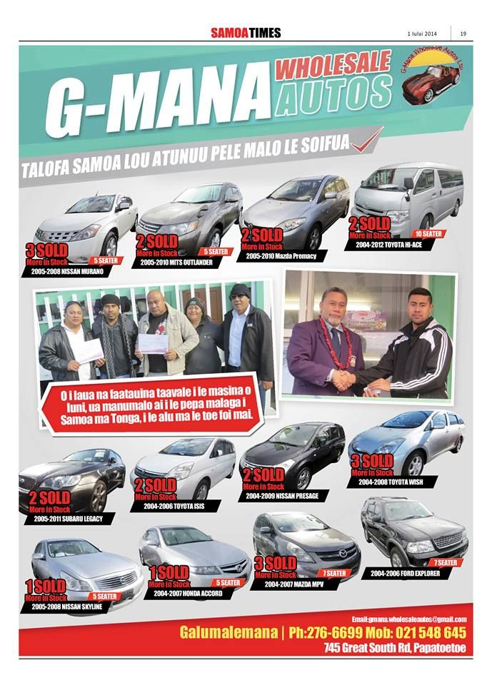 GMANA WHOLESALE AUTOS | Samoa Pages