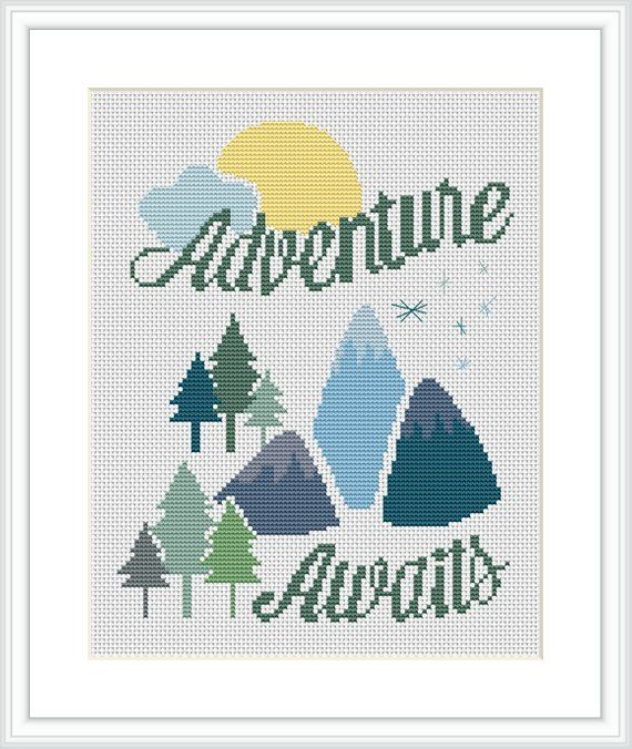 Adventure awaits cross stitch PDF pattern for baby mountain, forest