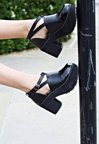 Black Patent Toe Platform shoes £70.00
