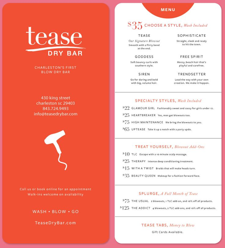 Tease Dry Bar | Krista Duran Engler - Charleston, SC Graphic Design, Art Direction, Web Design, Web Development, Consulting