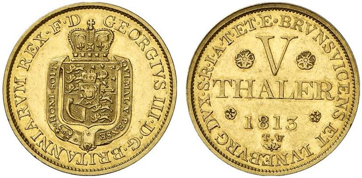 AV 5 Taler. Germany Coins, Hannover, George III. 1760-1820. 1813 TW, London mint. 6,64g. F 619. Nearly EF. Starting price 2011: 960 USD. Unsold.