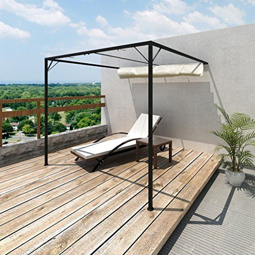 Metal Wall Mounted Garden Sun Shade Canopy Gazebo Pergola W Removable Roof