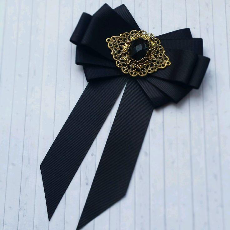 """Купить Брошь - галстук """"Черная классика"""" - офисный стиль, черный, классический стиль, брошь"""