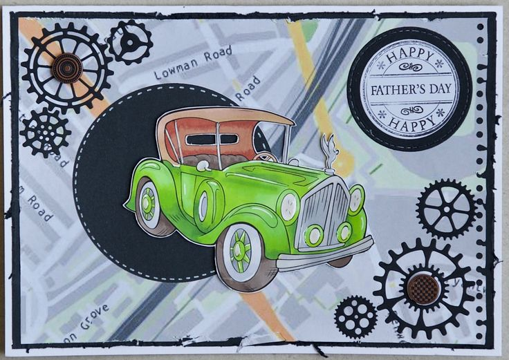 Father's Day card 2017: Paper Shelter digi stamp, called Vintage Car; Lili of the Valley message stamp; Sizzix gear dies