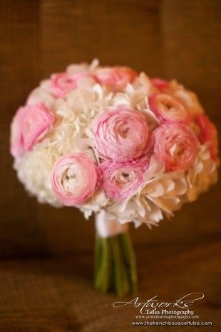Bridal Bouquet with Pink Ranunculus - The French Bouquet - Artworks Tulsa Photography