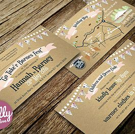 Wedding invitation for Hannah and Barney. This couple wanted a vintage inspired, festival style wedding invitation on kraft card. #bespoke #wedding #invitation #love #engaged #vintage #banner #bunting #floral #personalised #weddingmap #map #festival #kraft #brown #prink #blush #fun #relaxed