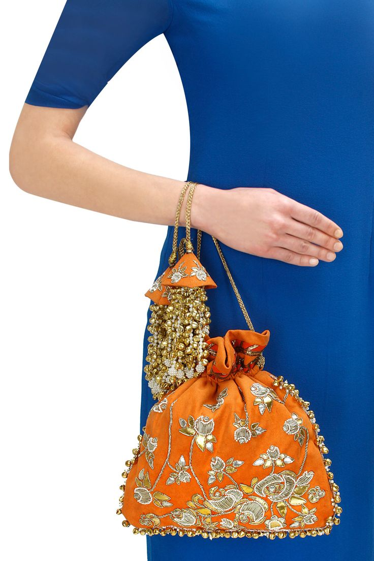 Orange gota work potli available only at Pernia's Pop-Up Shop.