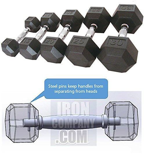IRONCOMPANY Commercial Virgin Rubber Hex Dumbbell Set - 5 to 50 lbs (10 pairs, 550 lbs total) - For Commercial Gyms, Garage Gyms, School Weight Rooms