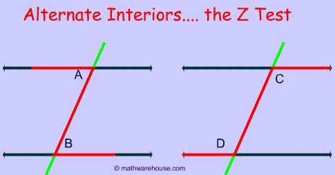 Alternate interior angles draw letter z school pinterest math geometry angles and algebra for Geometry interior and exterior angles