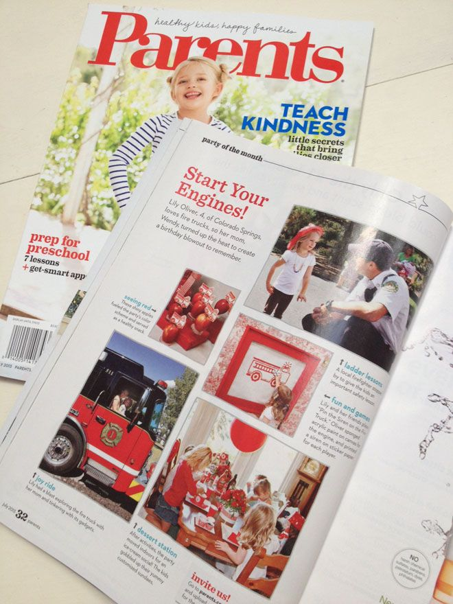 Green Beansie Ink: Girl's Firetruck Party Featured in July 2013 Parents Magazine!