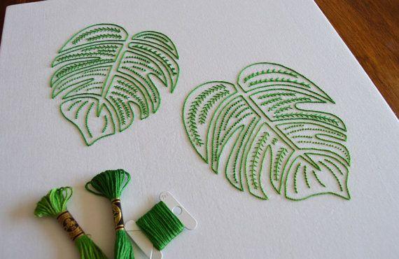 Monster Leaves hand embroidery pattern, delicious monster embroidery, modern embroidery, PDF pattern, leaf, digital download