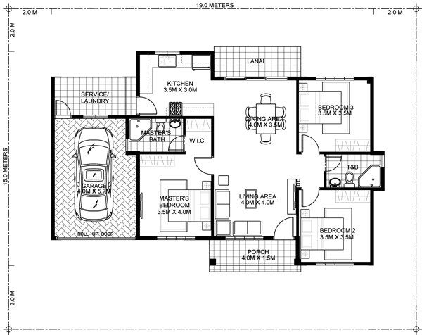 Shd 20120002 Design 3 Floor Plan Jpg 600 476 Pixels Single Storey House Plans Small Modern House Plans Bungalow House Plans