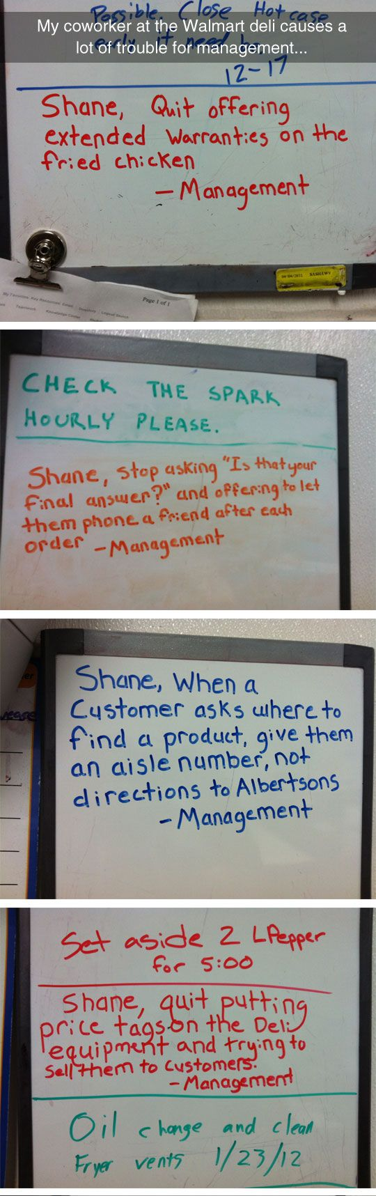 When Walmart employees prank one particular guy.... Having worked retail, I doubt management had anything to do with these, but they are pretty darned funny as a prank.