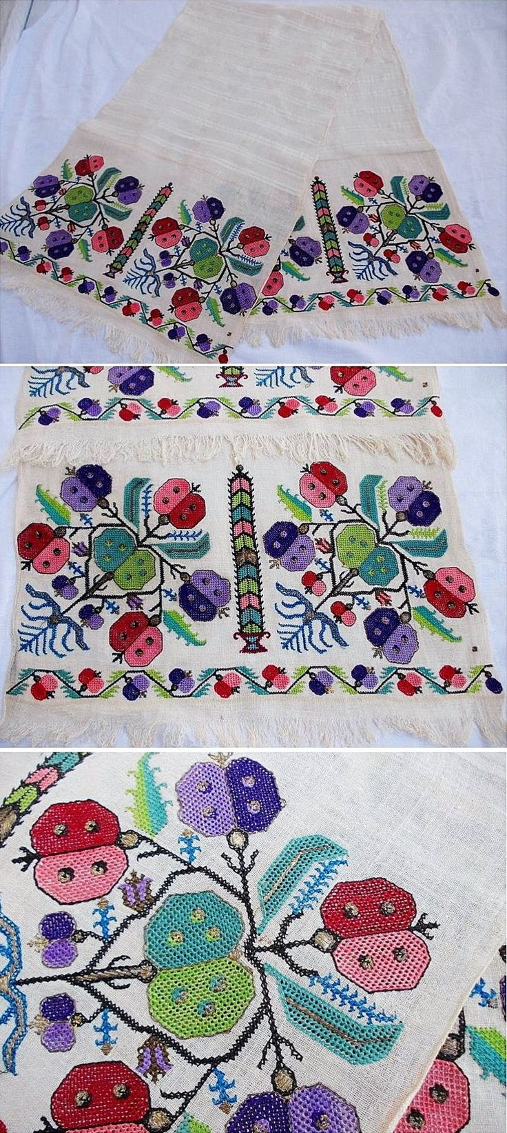 Embroidered 'yağlık' (large handkerchief, part of traditional festive costumes, usually worn in the waist belt).  From the district of Ödemiş (prov. Izmir), late-Ottoman era, early 20th century.  (Source: Antika Osmanlı Tekstil, Istanbul).