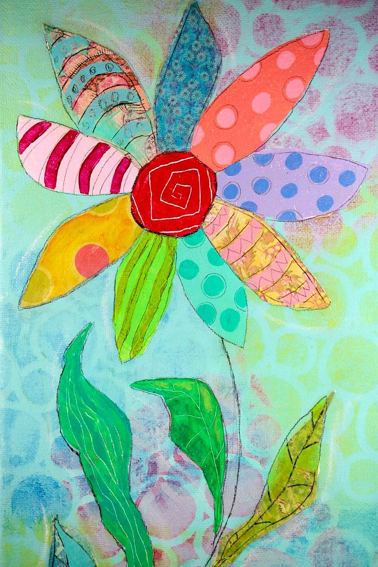 Original Flower Artwork Collage Painting on Etsy 7x14 canvas