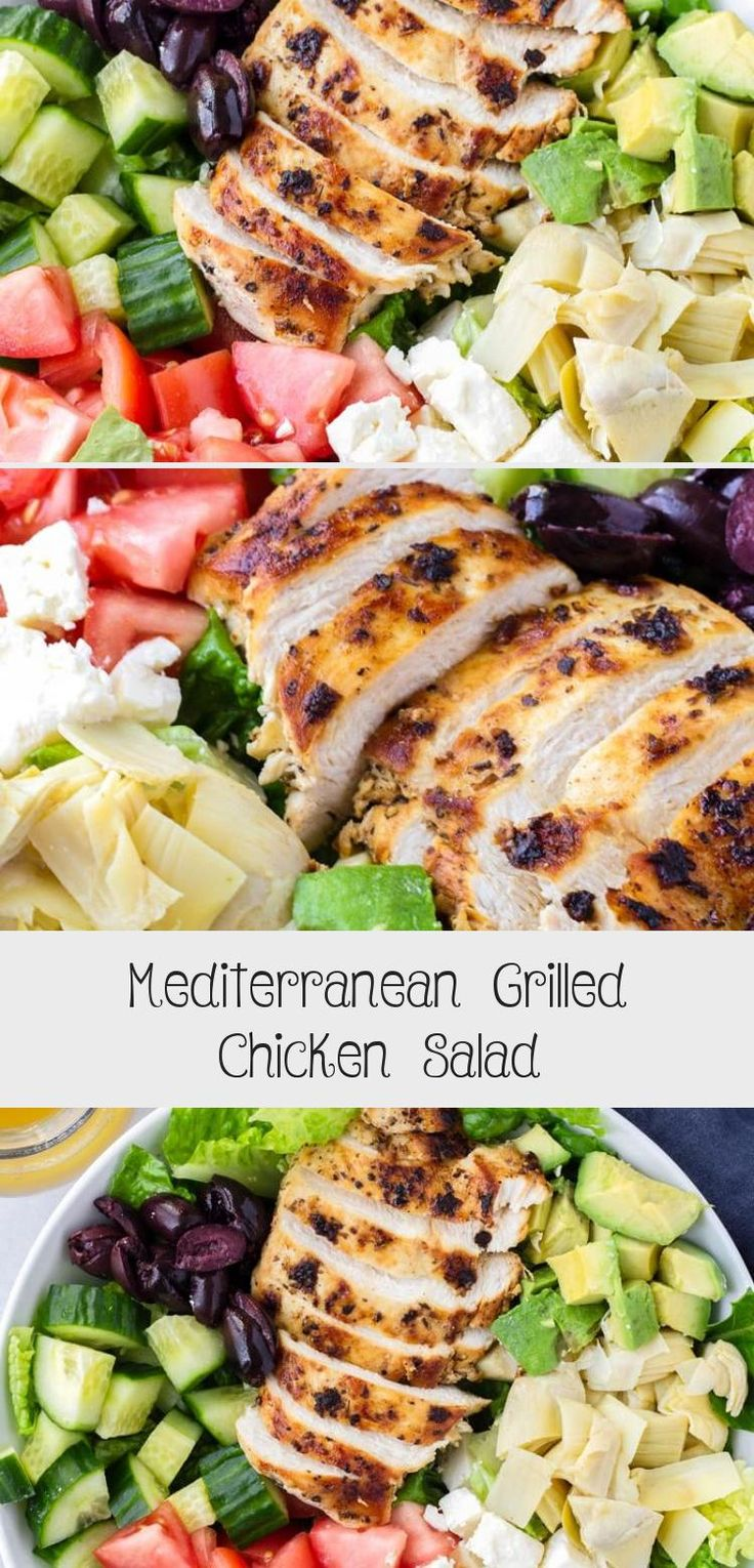 The best Mediterranean Chicken Salad! This Mediterranean grilled chicken salad is made with juicy a flavorful grilled chicken breast, complete with a mediterranean red wine dressing. Tossed feta, olives, avocado, and artichokes #cookingformysoul #mediterraneansalad #mediterraneandiet #grilledchickensalad #grilledchicken #mediterraneangrilledchicken   cookingformysoul.com #Thanksgivingsaladrecipes #Orzosaladrecipes #Noodlesaladrecipes #Cabbagesaladrecipes #saladrecipesFeta