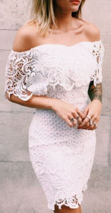 Sexy White Off-The-Shoulder Half Sleeve Solid Color Bodycon Women's Dress