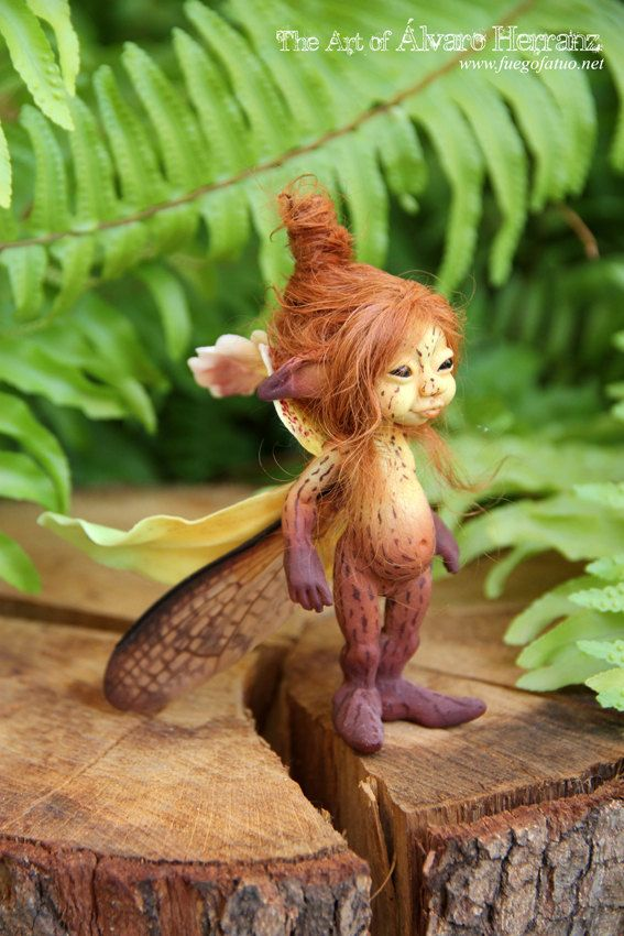 Brown Orchid sprite Resin casted ooak art doll by FuegoFatuo