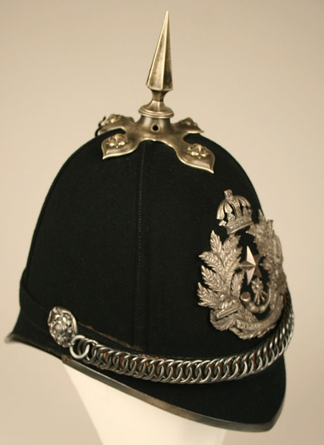 Home Services helmet modelled on the German Pickelhaube helmet, this style of helmet was adopted by the British Army in 1878, replacing the shako as headdress.