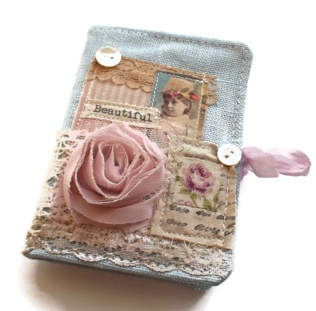 Shabby Chic Linen Fabric ARt Journal...