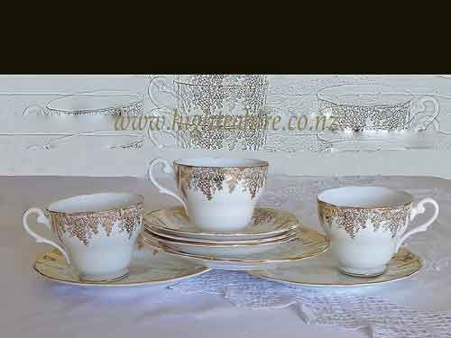 Bone china from England. (No name or code) A lovely  gold pattern of grapes. 3 cup sets for hire