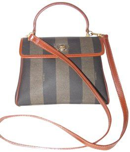 91164eed8483 Fendi Brown Mint Vintage Two-way Style Satchel in wide striped  pequin   print coated canvas and burnt orange leather