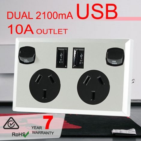 AU$21.95 plus postage - 10A Double Australian USB Power Point Supply 2 Socket Switch Wall Plug Black from Real Smart (price correct as at 29.10.17)