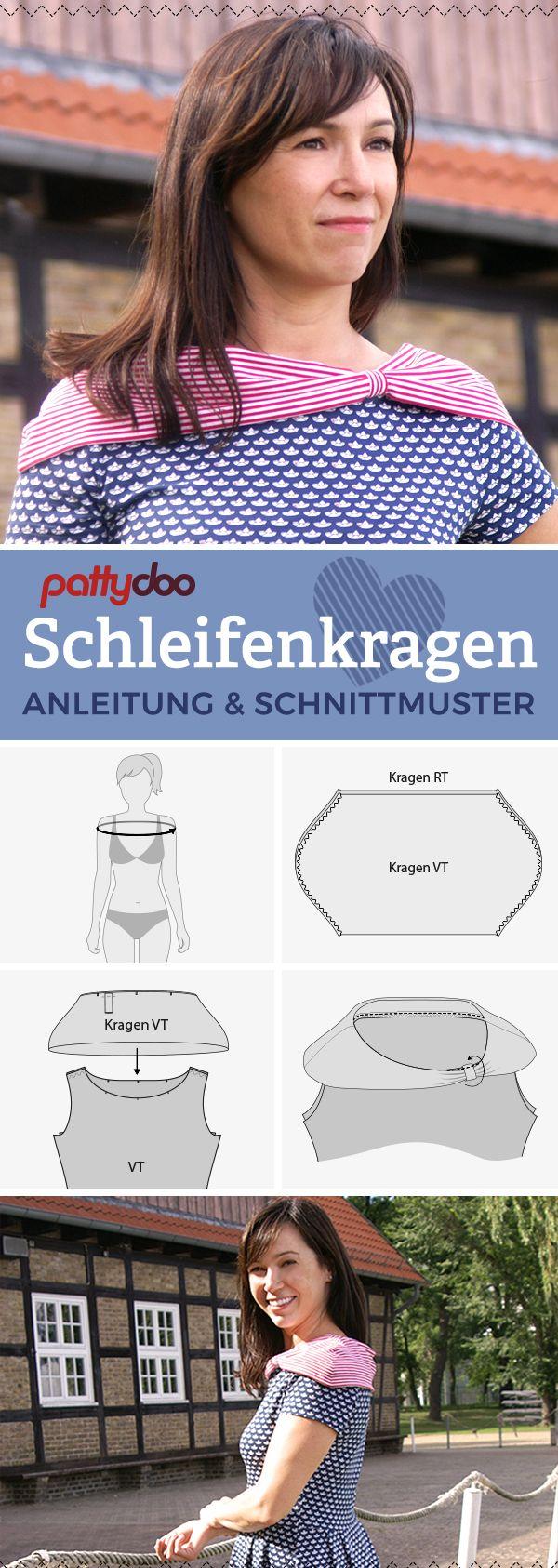 Anleitung und gratis Schnittmuster Add-On für einen Schleifenkragen - Hübsche Kragenvariante für Jerseykleider und T-Shirts | Freebie von pattydoo