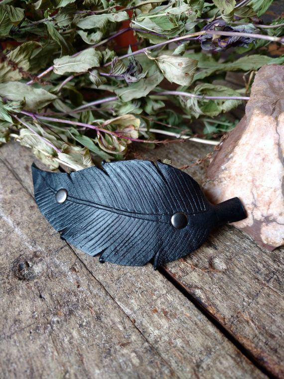 Leather Feather Hair Clip  Black Feather Barrette by Hammerthreads