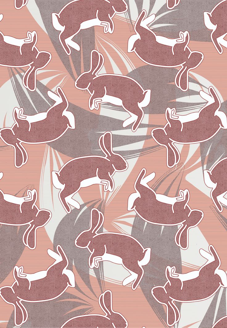 @oozefina Bunny print! I've been working on making my patterns more curtain / drape / pillow cover friendly, trying to work with a more subtle color palette. Plus that bunnies are really cute. :) #bunny #hare #rabbit #pink #textile #print #pattern #surface #design