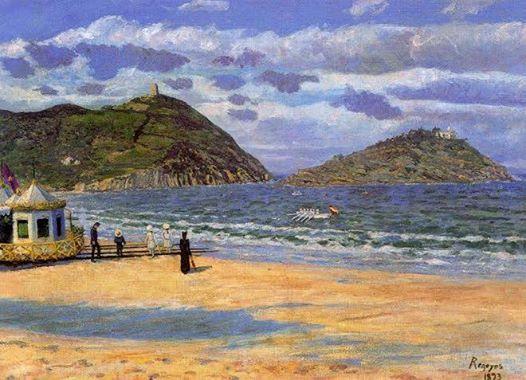 """Foto: Cuadro de Dario de Regoyos. """"Playa de San Sebastian"""". 1893. Se aprecia movimiento en torno a la Caseta real de baños......  Publicado por Mariona Tella"""