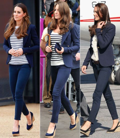 Kate (here in 2013, 2012, and 2012, respectively) clearly has a uniform. Though she alternates between striped tops and frilly white camis, the bones are always the same: a perfectly fitted navy blazer, ankle-grazing skinny jeans, and stacked wedges.